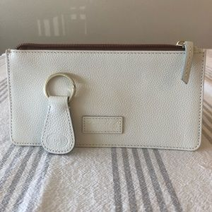 Dooney & Bourke white leather pouch and key chain.